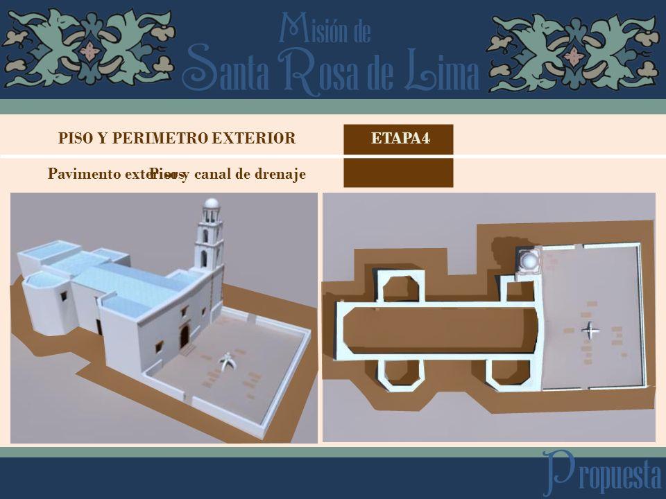 S anta R osa de L ima M isión de P ropuesta ETAPA4PISO Y PERIMETRO EXTERIOR PisosPavimento exterior y canal de drenaje