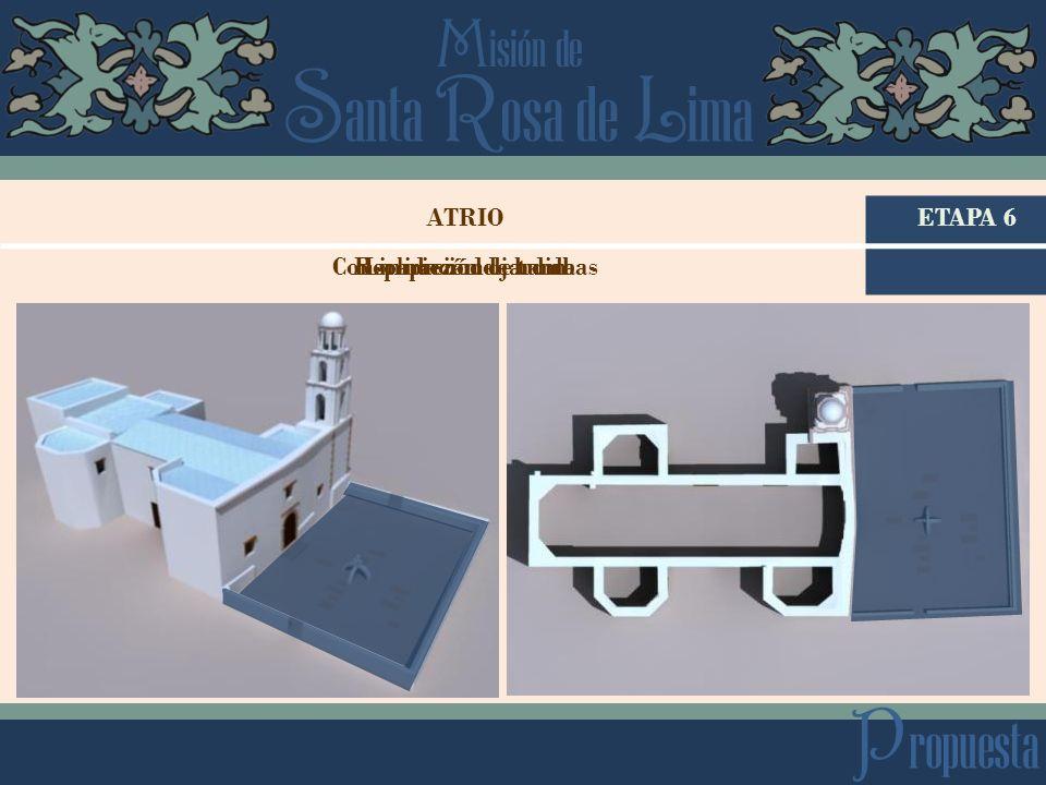 S anta R osa de L ima M isión de P ropuesta ETAPA 6ATRIO Reparación de bardaConsolidación de tumbasLimpieza de jardin