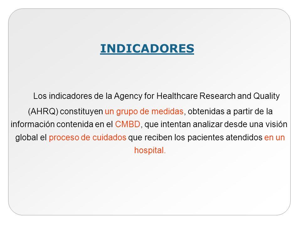 INDICADORES Los indicadores de la Agency for Healthcare Research and Quality (AHRQ) constituyen un grupo de medidas, obtenidas a partir de la informac
