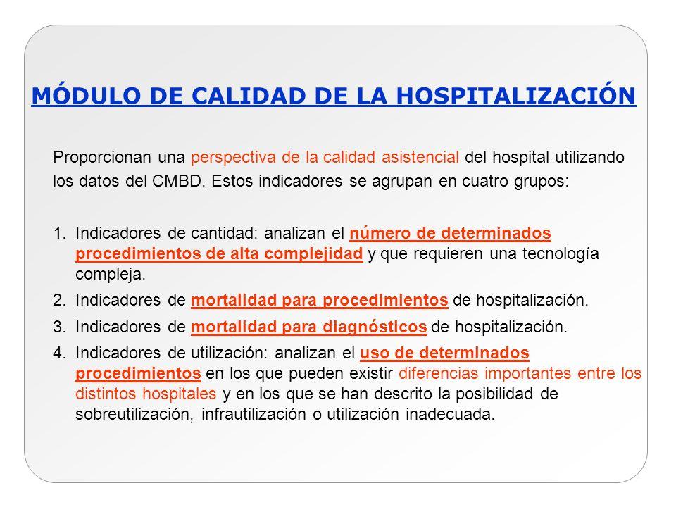 MÓDULO DE CALIDAD DE LA HOSPITALIZACIÓN Proporcionan una perspectiva de la calidad asistencial del hospital utilizando los datos del CMBD. Estos indic