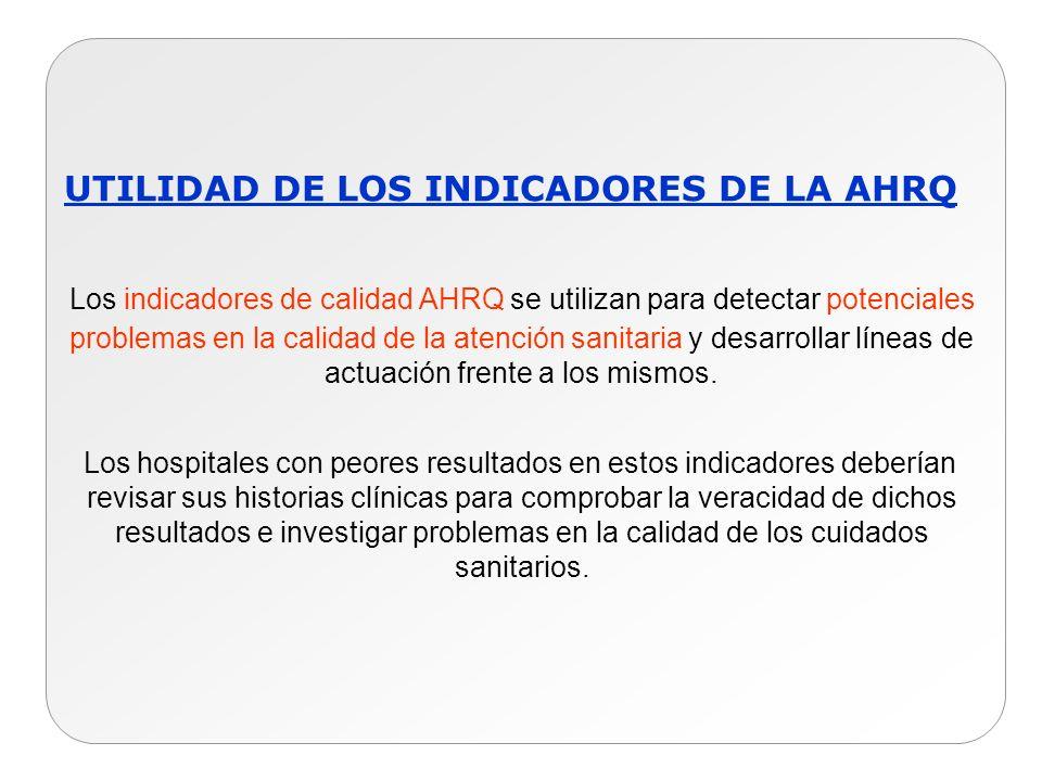 UTILIDAD DE LOS INDICADORES DE LA AHRQ Los indicadores de calidad AHRQ se utilizan para detectar potenciales problemas en la calidad de la atención sa
