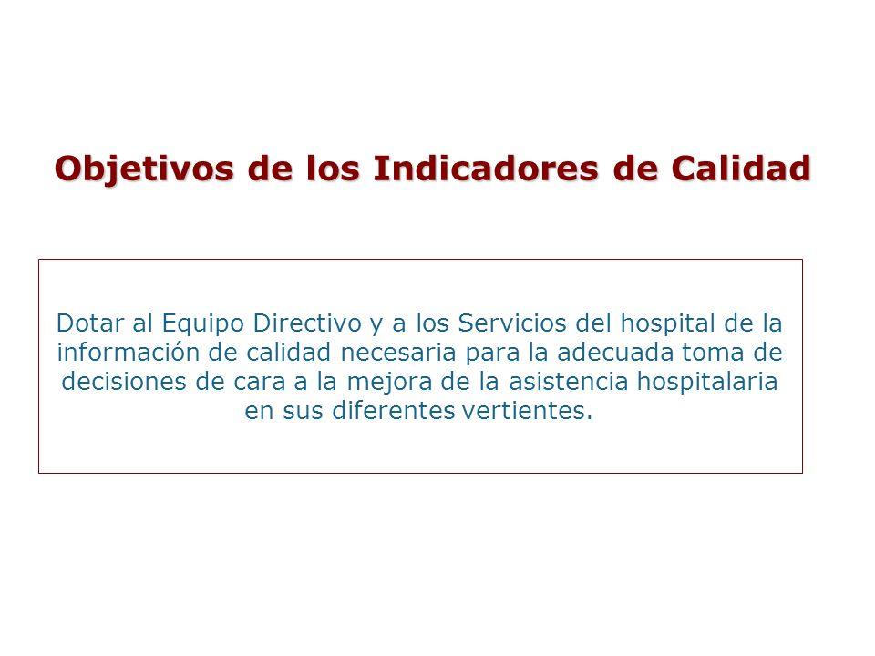 Dotar al Equipo Directivo y a los Servicios del hospital de la información de calidad necesaria para la adecuada toma de decisiones de cara a la mejor