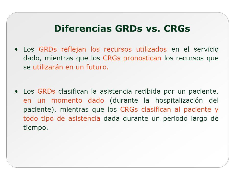Los GRDs reflejan los recursos utilizados en el servicio dado, mientras que los CRGs pronostican los recursos que se utilizarán en un futuro. Los GRDs