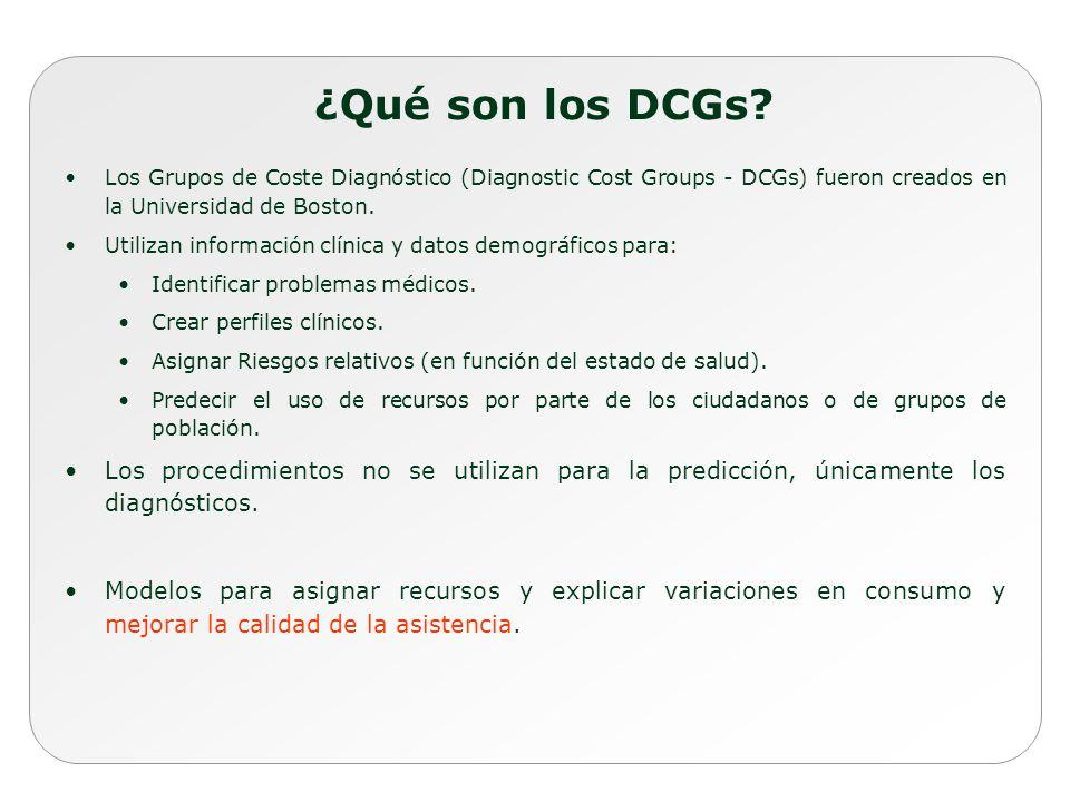 ¿Qué son los DCGs? Los Grupos de Coste Diagnóstico (Diagnostic Cost Groups - DCGs) fueron creados en la Universidad de Boston. Utilizan información cl