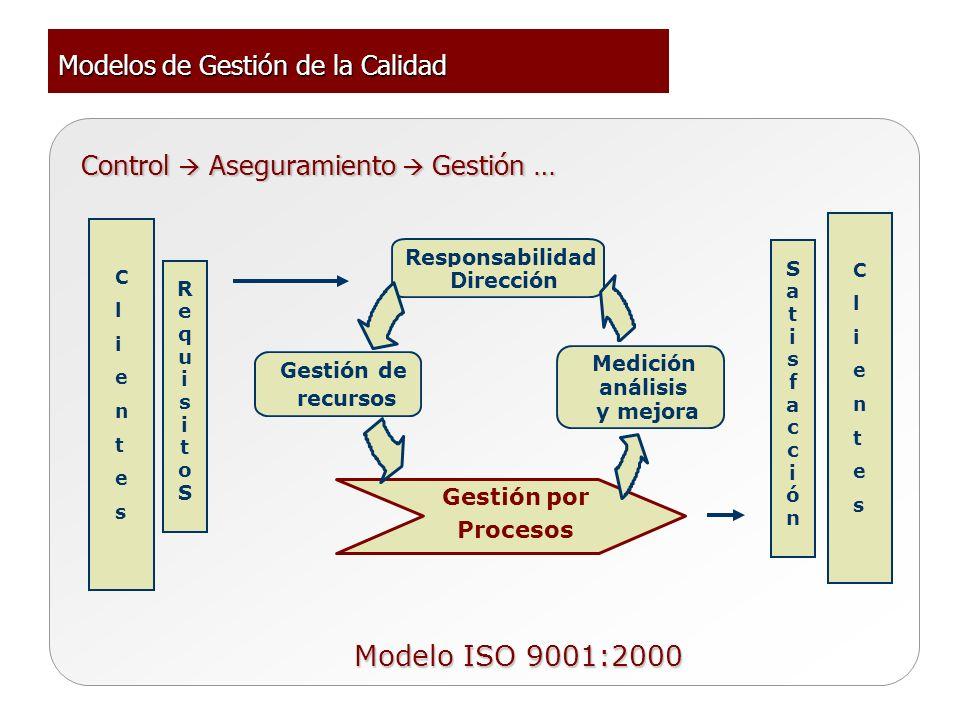 Responsabilidad Dirección Medición análisis y mejora Gestión de recursos Gestión por Procesos RequisitoSRequisitoS ClientesClientes ClientesClientes S