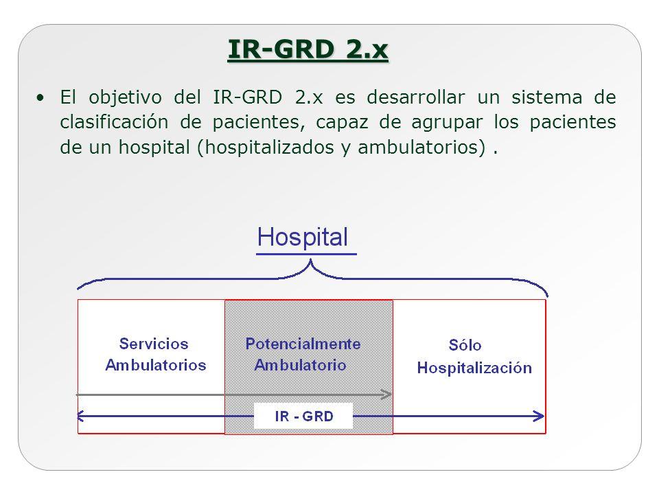 IR-GRD 2.x El objetivo del IR-GRD 2.x es desarrollar un sistema de clasificación de pacientes, capaz de agrupar los pacientes de un hospital (hospital
