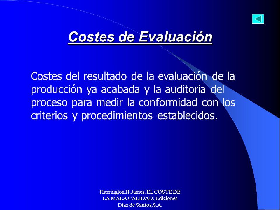 Harrington H.James. EL COSTE DE LA MALA CALIDAD. Ediciones Díaz de Santos,S.A. EJEMPLOS DE COSTES DE PREVENCIÓN SEGÚN LA ASQC Administración de la cal
