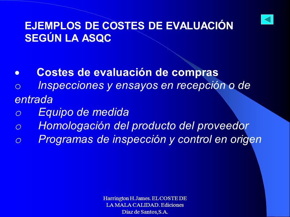 Harrington H.James. EL COSTE DE LA MALA CALIDAD. Ediciones Díaz de Santos,S.A. Costes del resultado de la evaluación de la producción ya acabada y la