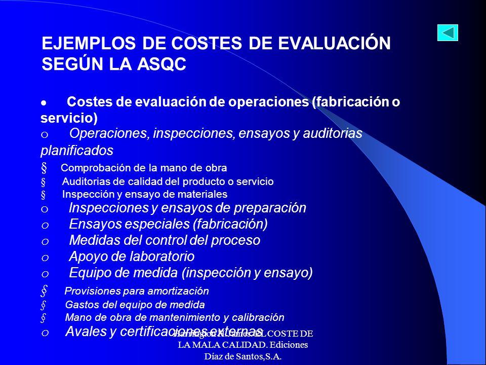 Harrington H.James. EL COSTE DE LA MALA CALIDAD. Ediciones Díaz de Santos,S.A. Costes de evaluación de compras o lnspecciones y ensayos en recepción o