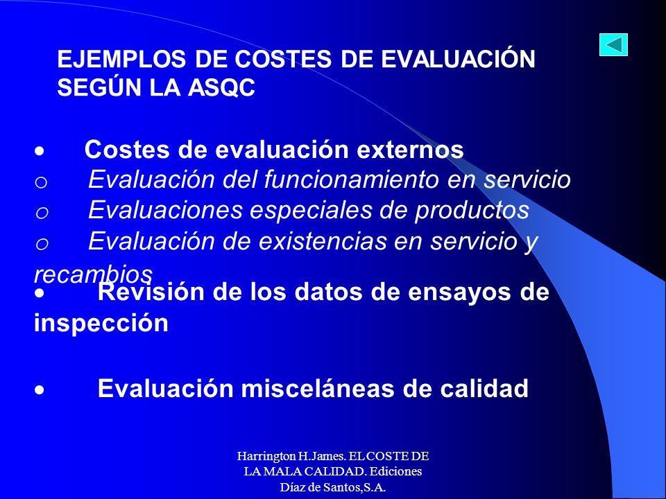 Harrington H.James. EL COSTE DE LA MALA CALIDAD. Ediciones Díaz de Santos,S.A. Costes de evaluación de operaciones (fabricación o servicio) o Operacio