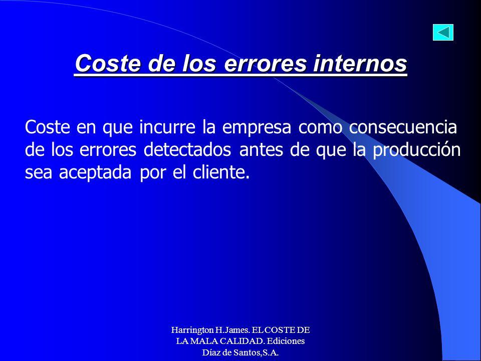 Harrington H.James. EL COSTE DE LA MALA CALIDAD. Ediciones Díaz de Santos,S.A. EJEMPLOS DE COSTES DE EVALUACIÓN SEGÚN LA ASQC Costes de evaluación ext