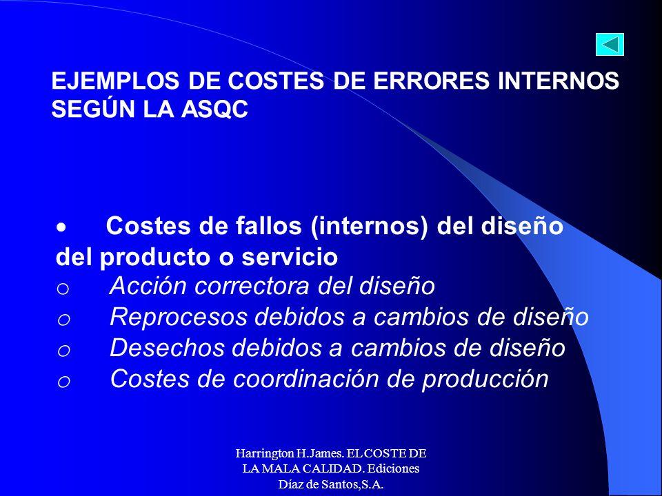 Harrington H.James. EL COSTE DE LA MALA CALIDAD. Ediciones Díaz de Santos,S.A. Coste en que incurre la empresa como consecuencia de los errores detect