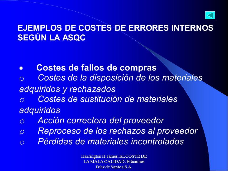 Harrington H.James. EL COSTE DE LA MALA CALIDAD. Ediciones Díaz de Santos,S.A. Costes de fallos (internos) del diseño del producto o servicio o Acción