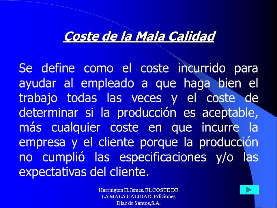 Harrington H.James. EL COSTE DE LA MALA CALIDAD. Ediciones Díaz de Santos,S.A. Contenidos 1. Costes de la no-calidad o de la mala calidad (CMC). 2. Cu