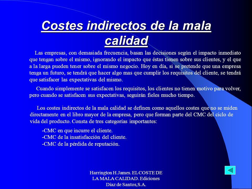 Harrington H.James. EL COSTE DE LA MALA CALIDAD. Ediciones Díaz de Santos,S.A. Impacto del ciclo del producto sobre el coste de la mala calidad