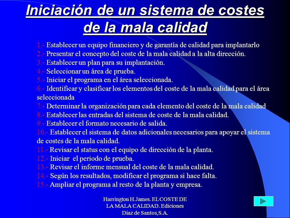 Harrington H.James. EL COSTE DE LA MALA CALIDAD. Ediciones Díaz de Santos,S.A. 1.- El CMC proporciona una entidad manejable. 2.- El CMC proporciona un