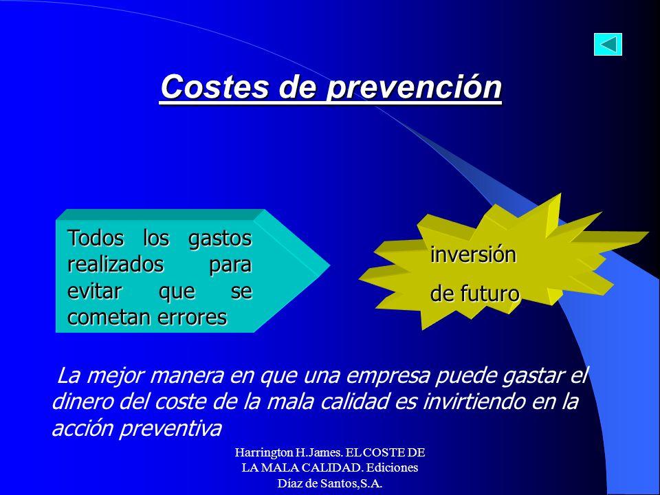 I. Costes directos de la mala calidad A. Coste controlable de la mala calidad -Coste de prevención -Coste de evaluación B. Coste resultante de la mala