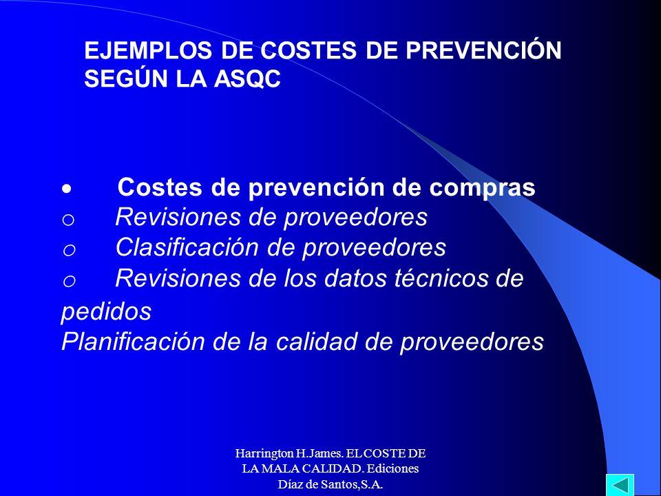 Harrington H.James. EL COSTE DE LA MALA CALIDAD. Ediciones Díaz de Santos,S.A. EJEMPLOS DE COSTES DE PREVENCIÓN SEGÚN LA ASQC Desarrollo del producto