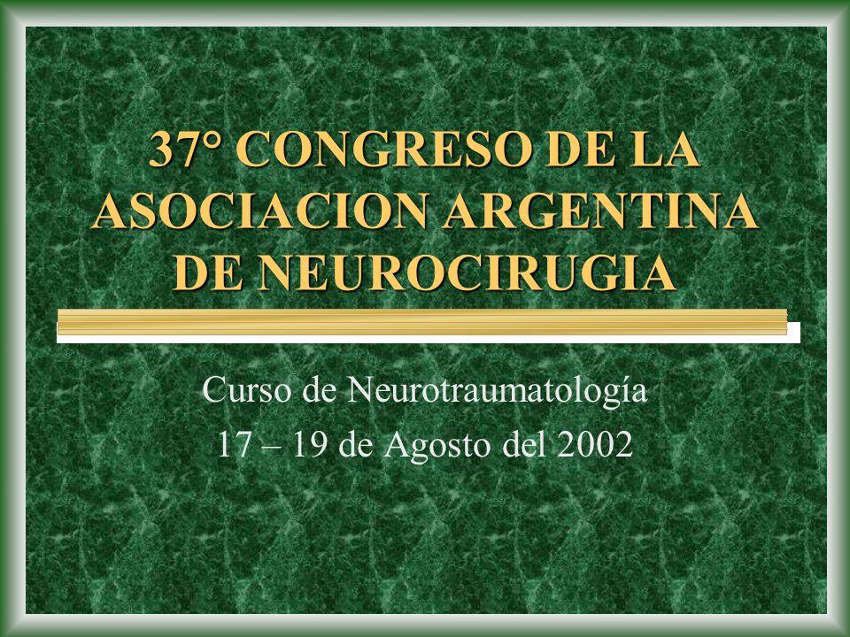 37° CONGRESO DE LA ASOCIACION ARGENTINA DE NEUROCIRUGIA Curso de Neurotraumatología 17 – 19 de Agosto del 2002