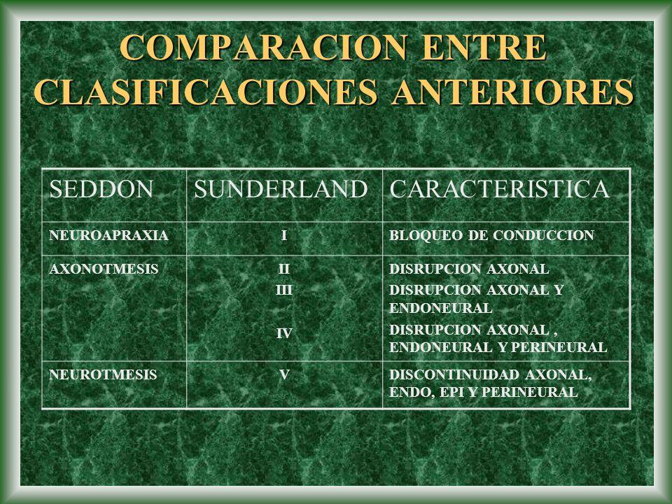 COMPARACION ENTRE CLASIFICACIONES ANTERIORES SEDDONSUNDERLANDCARACTERISTICA NEUROAPRAXIAIBLOQUEO DE CONDUCCION AXONOTMESISII III IV DISRUPCION AXONAL