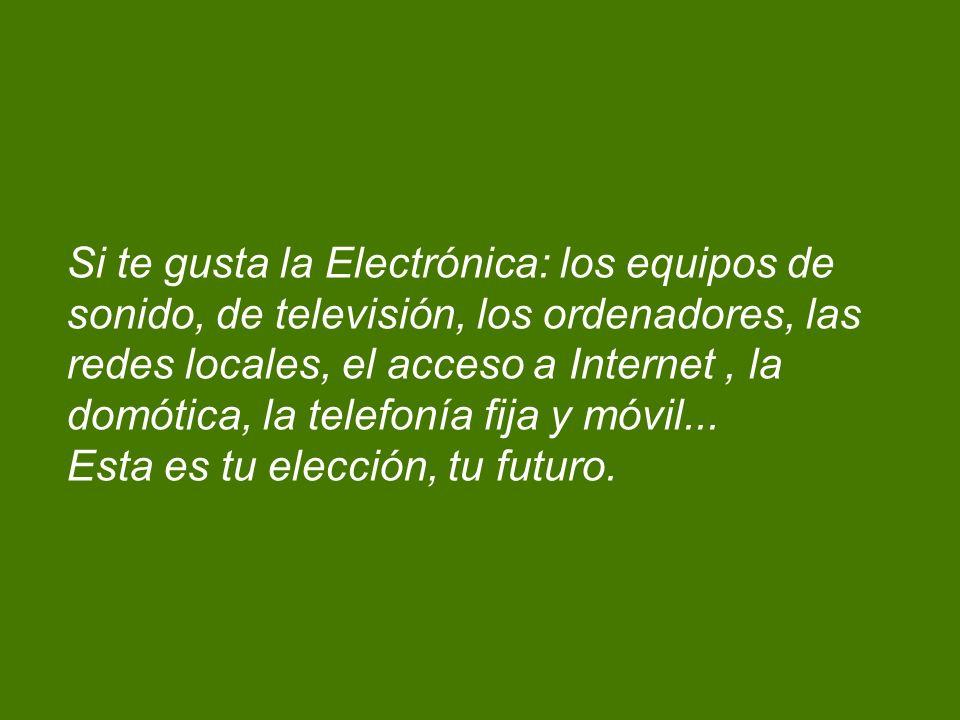 Si te gusta la Electrónica: los equipos de sonido, de televisión, los ordenadores, las redes locales, el acceso a Internet, la domótica, la telefonía fija y móvil...