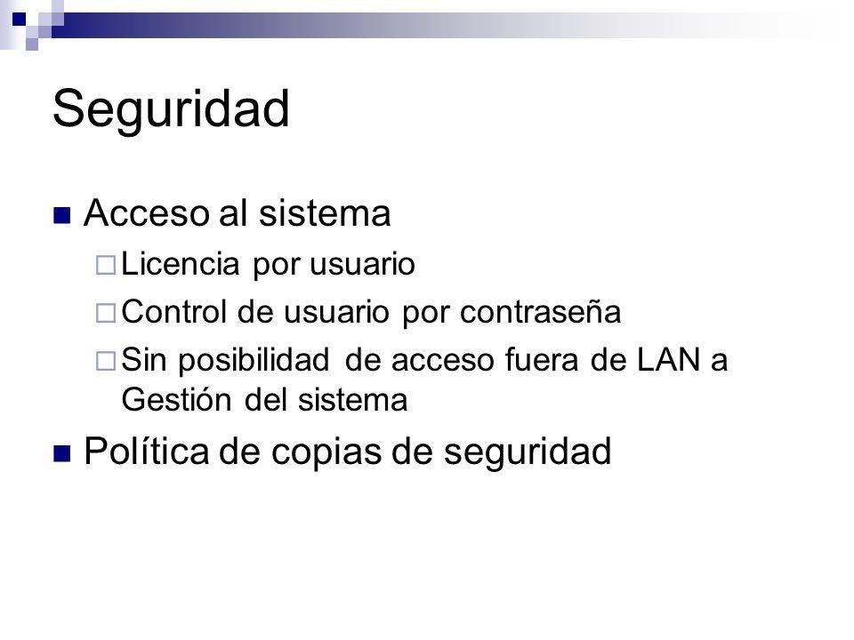 Seguridad Acceso al sistema Licencia por usuario Control de usuario por contraseña Sin posibilidad de acceso fuera de LAN a Gestión del sistema Políti