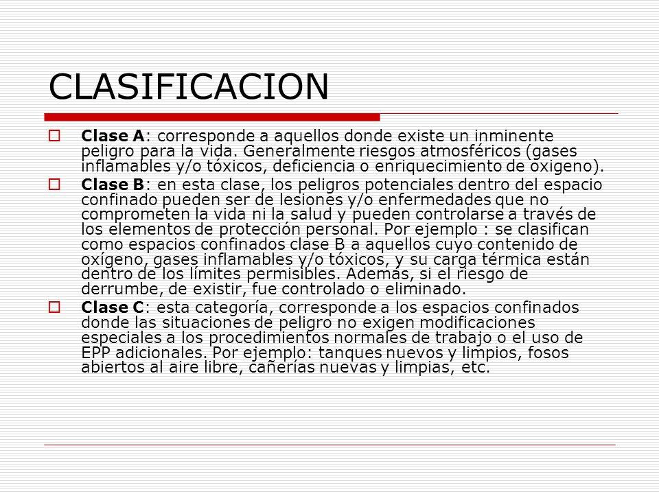 CLASIFICACION Clase A: corresponde a aquellos donde existe un inminente peligro para la vida. Generalmente riesgos atmosféricos (gases inflamables y/o
