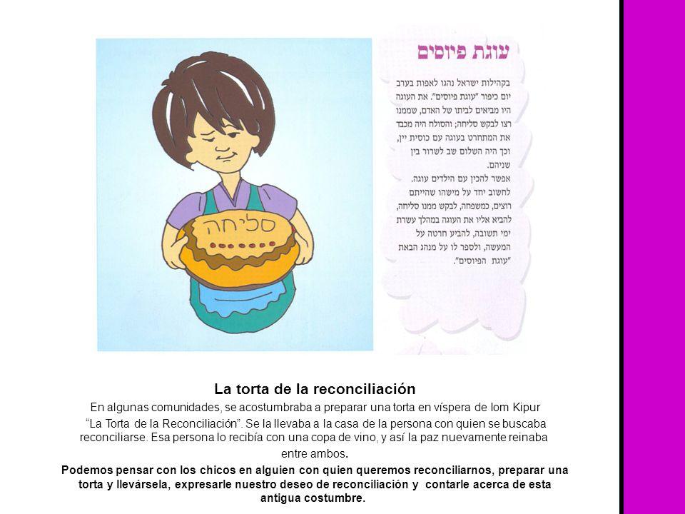 La torta de la reconciliación En algunas comunidades, se acostumbraba a preparar una torta en víspera de Iom Kipur La Torta de la Reconciliación. Se l