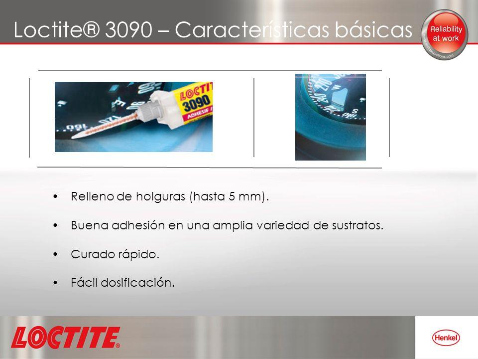 Loctite® 3090 – Características básicas Relleno de holguras (hasta 5 mm). Buena adhesión en una amplia variedad de sustratos. Curado rápido. Fácil dos