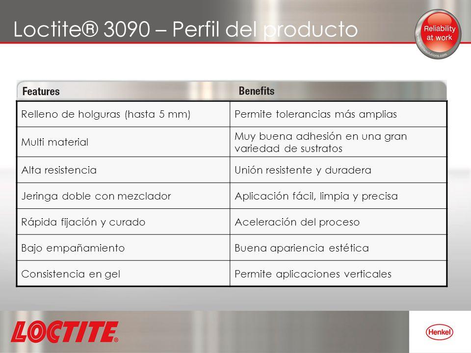 Loctite® 3090 – Perfil del producto Relleno de holguras (hasta 5 mm)Permite tolerancias más amplias Multi material Muy buena adhesión en una gran vari