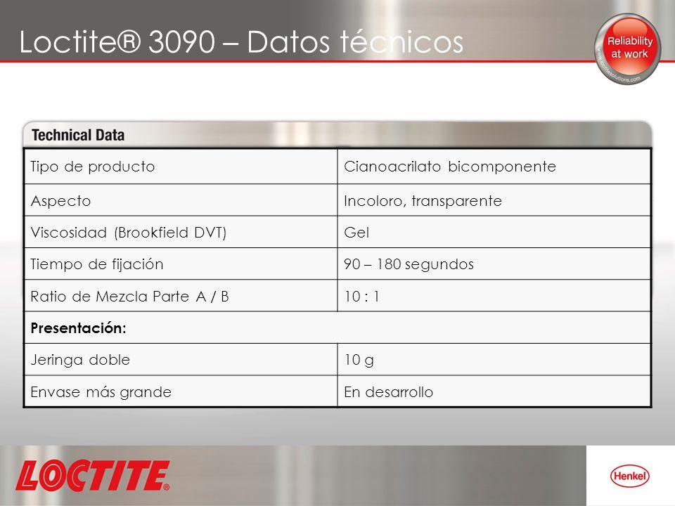 Loctite® 3090 – Datos técnicos Tipo de productoCianoacrilato bicomponente AspectoIncoloro, transparente Viscosidad (Brookfield DVT)Gel Tiempo de fijac