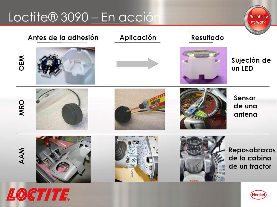 Loctite® 3090 – En acción Antes de la adhesión ResultadoAplicación OEM AAM MRO Reposabrazosde la cabinade un tractor Sujeción deun LED Sensorde unaant