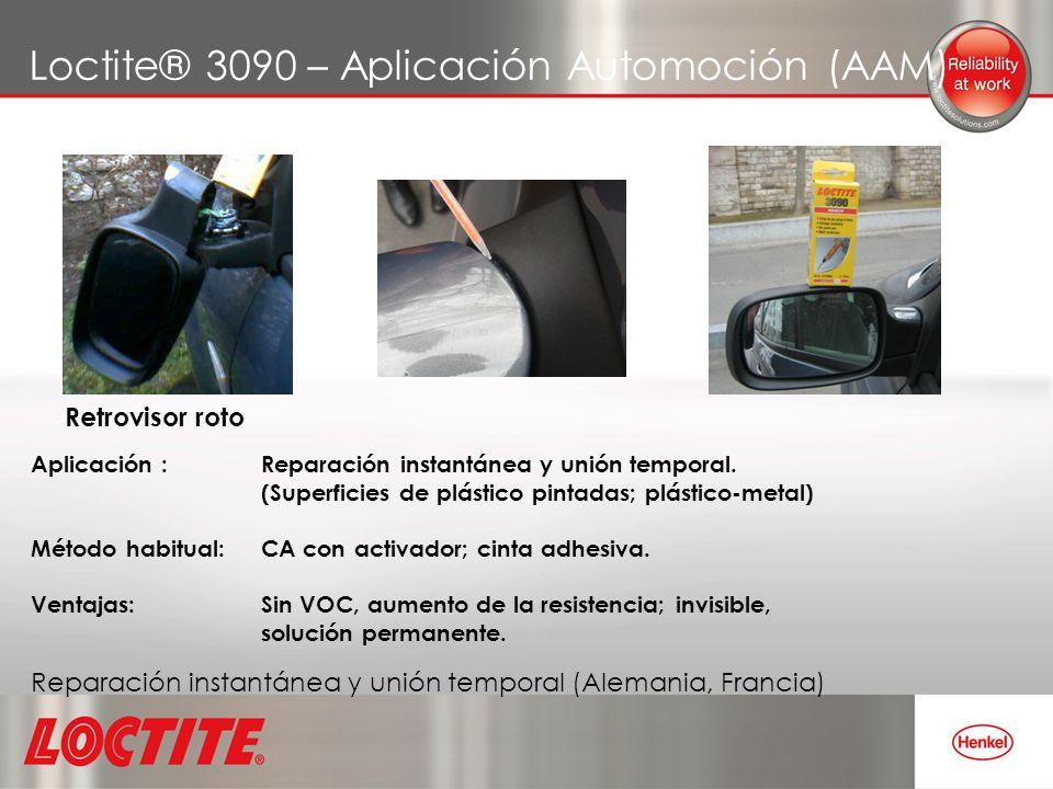 Loctite® 3090 – Aplicación Automoción (AAM) Aplicación : Reparación instantánea y unión temporal. (Superficies de plástico pintadas; plástico-metal) M