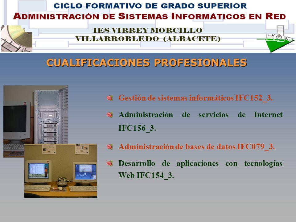 CUALIFICACIONES PROFESIONALES Gestión de sistemas informáticos IFC152_3.
