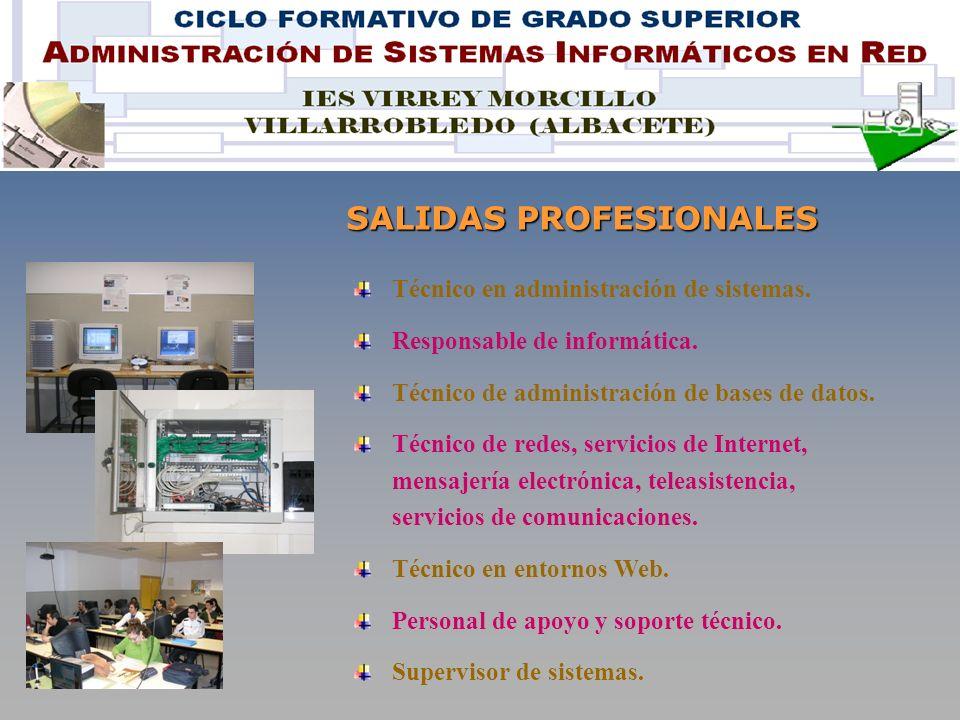 SALIDAS PROFESIONALES Técnico en administración de sistemas.