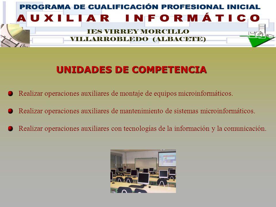 UNIDADES DE COMPETENCIA Realizar operaciones auxiliares de montaje de equipos microinformáticos.