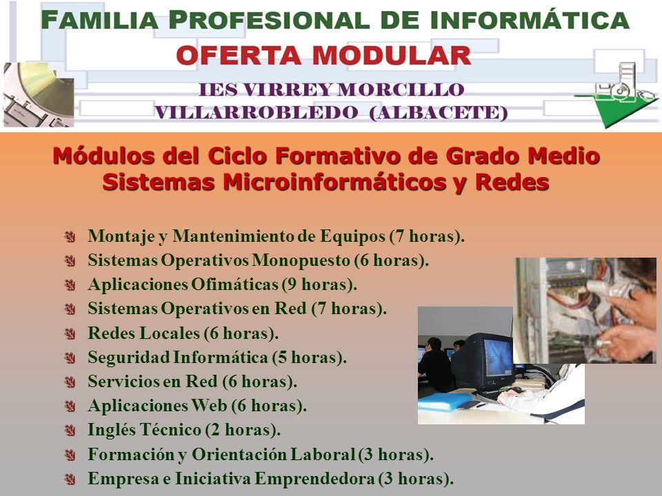 Módulos del Ciclo Formativo de Grado Medio Sistemas Microinformáticos y Redes Montaje y Mantenimiento de Equipos (7 horas).