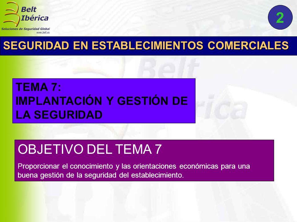 OBJETIVO DEL TEMA 7 Proporcionar el conocimiento y las orientaciones económicas para una buena gestión de la seguridad del establecimiento. TEMA 7: IM