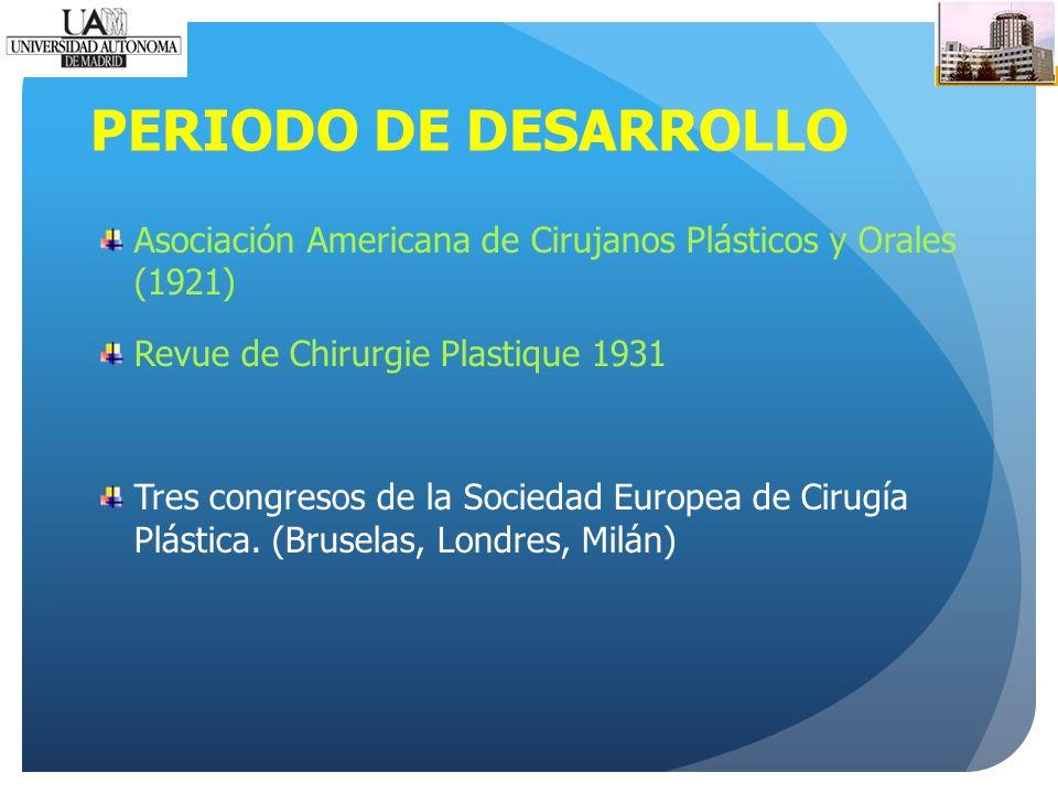 PERIODO DE DESARROLLO Asociación Americana de Cirujanos Plásticos y Orales (1921) Revue de Chirurgie Plastique 1931 Tres congresos de la Sociedad Europea de Cirugía Plástica.