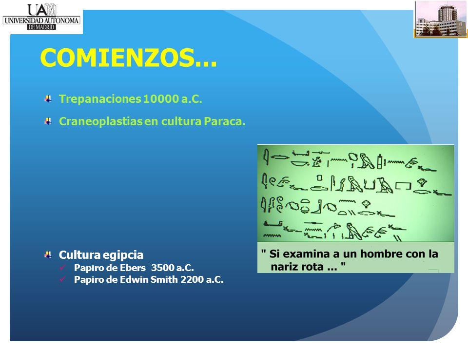 COMIENZOS... Trepanaciones 10000 a.C. Craneoplastias en cultura Paraca.