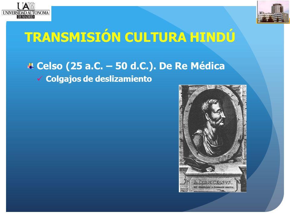 TRANSMISIÓN CULTURA HINDÚ Celso (25 a.C. – 50 d.C.). De Re Médica Colgajos de deslizamiento