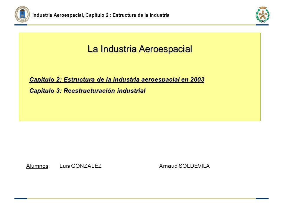 Industria Aeroespacial, Capitulo 2 : Estructura de la Industria Capitulo 2: Estructura de la industria aeroespacial en 2003 Capitulo 3: Reestructuración industrial Alumnos: Luis GONZALEZ Arnaud SOLDEVILA La Industria Aeroespacial