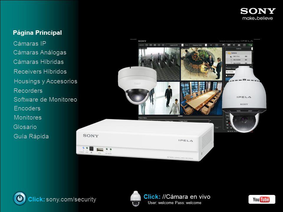 Página Principal Housings y Accesorios Recorders Software de Monitoreo Encoders Monitores Click:sony.com/security Glosario Guía Rápida Click: //Cámara