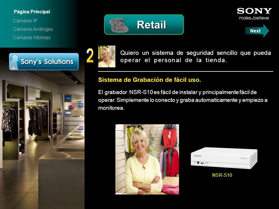 Quiero un sistema de seguridad sencillo que pueda operar el personal de la tienda... Sistema de Grabación de fácil uso. El grabador NSR-S10 es fácil d