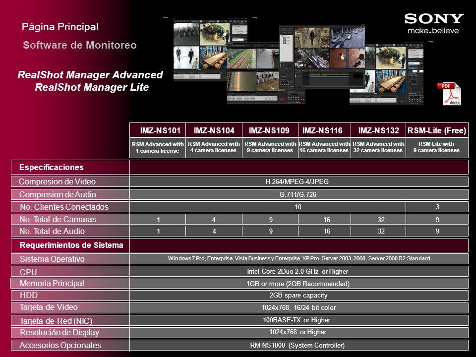 Página Principal Especificaciones Compresion de Video Compresion de Audio No. Clientes Conectados No. Total de Camaras Requerimientos de Sistema Siste