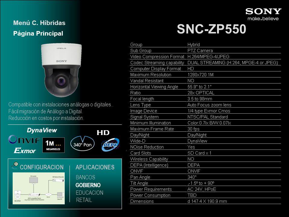 SNC-ZP550 Menú C. Híbridas HD 1 M … MEGAPIXELES E xmor DynaView CONFIGURACIONAPLICACIONES Página Principal EDUCACION GOBIERNO RETAIL BANCOS Compatible