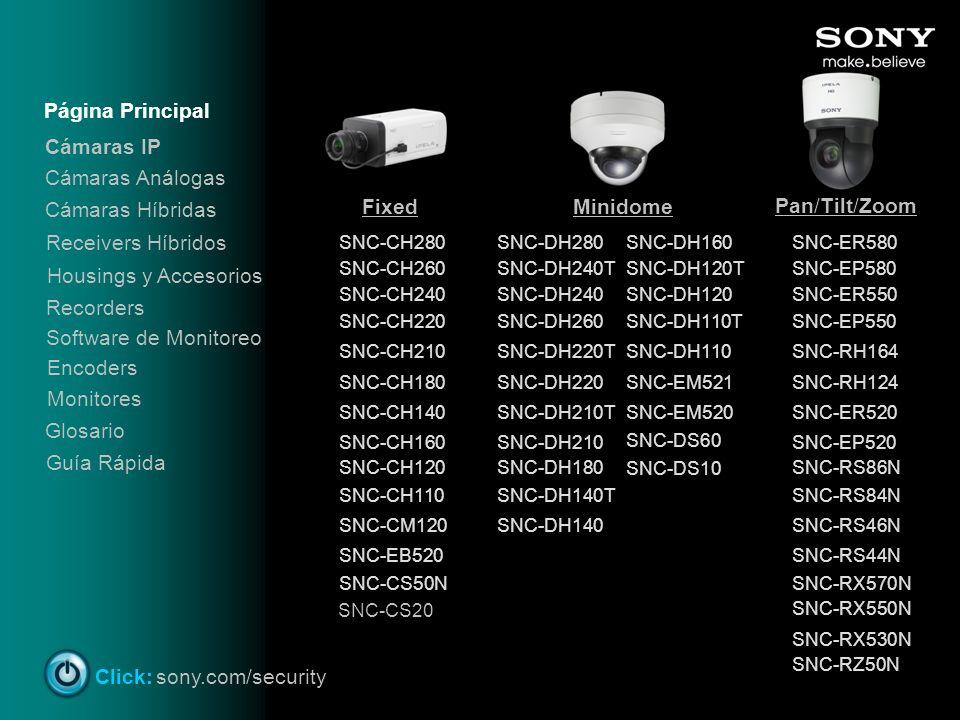 FixedMinidome Pan/Tilt/Zoom SNC-CH280 SNC-CH260 Cámaras IP SNC-CH240 SNC-CH220 SNC-CH210 SNC-CH180 SNC-CH140 SNC-CH160 SNC-CH120 SNC-CH110 SNC-CM120 S