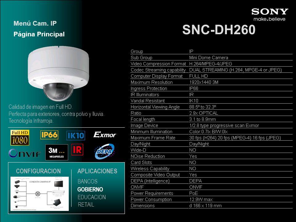 SNC-DH260 3 M … MEGAPIXELES E xmor Página Principal Menú Cam. IP EDUCACION GOBIERNO RETAIL APLICACIONES BANCOS CONFIGURACION Calidad de imagen en Full