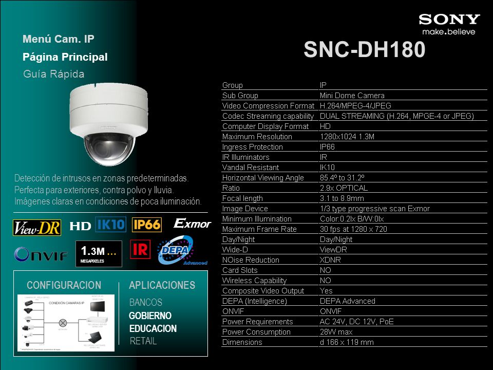 SNC-DH180 1. 3M … MEGAPIXELES HD E xmor Página Principal Menú Cam. IP EDUCACION GOBIERNO RETAIL APLICACIONES BANCOS Guía Rápida CONFIGURACION Detecció