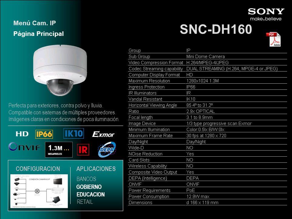 SNC-DH160 1. 3M … MEGAPIXELES E xmor HD Página Principal Menú Cam. IP EDUCACION GOBIERNO RETAIL APLICACIONES BANCOS CONFIGURACION Perfecta para exteri